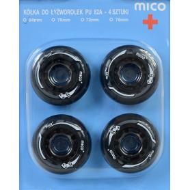 MICO PU 64mm x 24mm skrituļslidu riteņi 4gb.